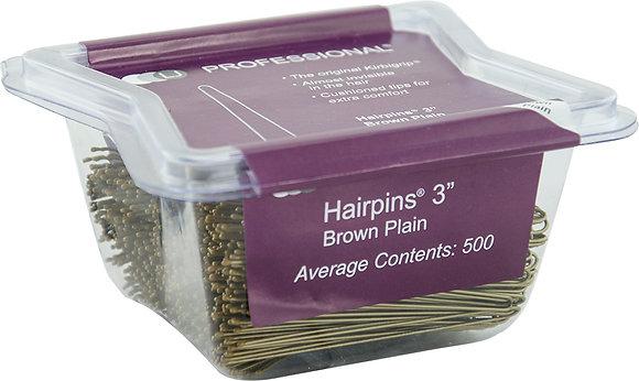 """LJ 3"""" Hairpins Plain x 500 Brown"""