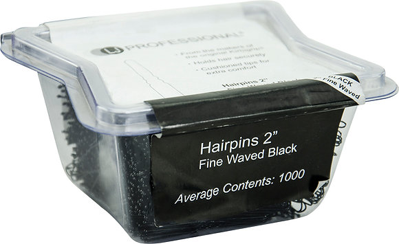 "LJ 2"" Fine Wavy Hairpins x 1000 Black"