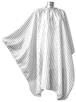 DMI Vintage Barber Cape Black Pinstripe on White