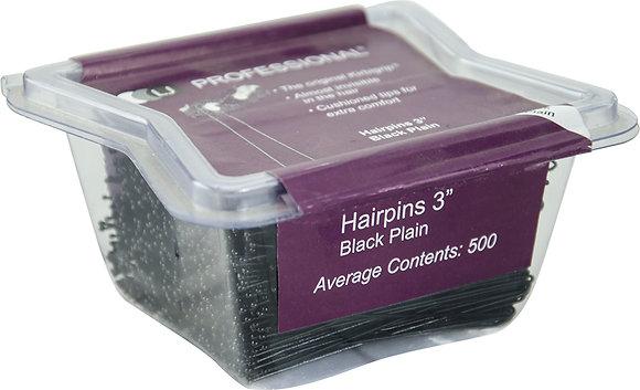 """LJ 3"""" Hairpins Plain x 500 Black"""