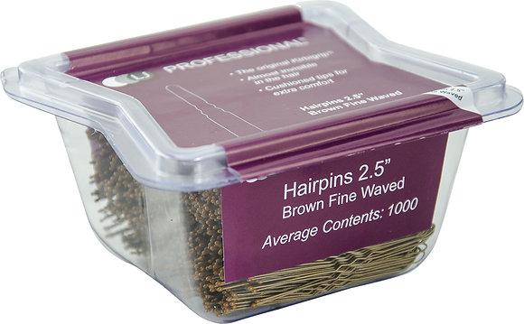"""LJ 2.5"""" Fine Wavy Hairpins x 1000 Brown"""