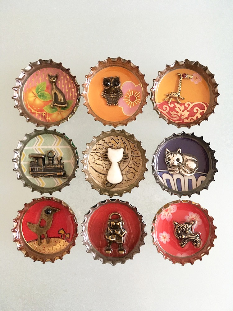 Upcycled bottle caps made into art.