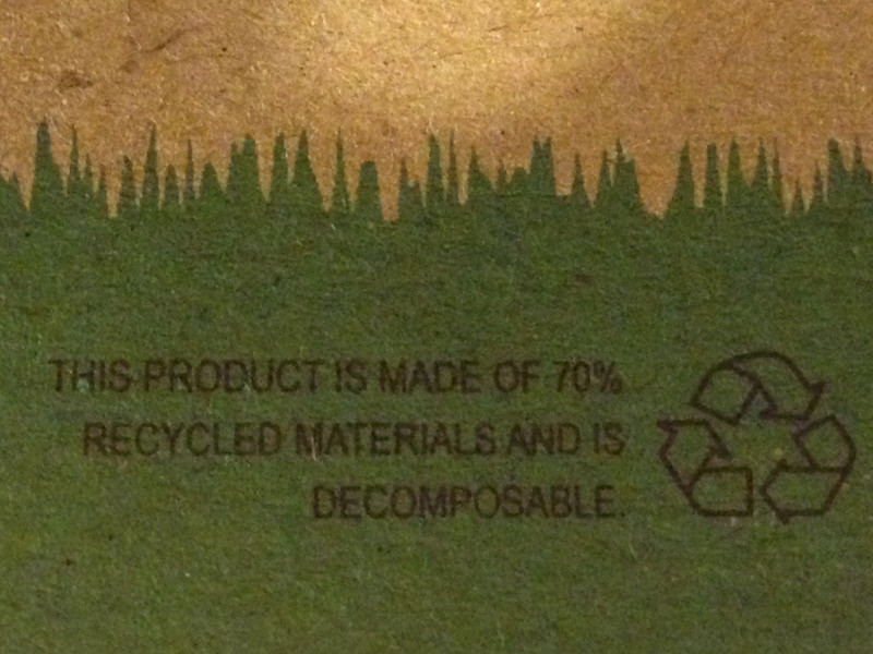 Label on notebook does not mention if the recycled materials come from sustainable sources.