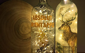 Glass bottles upcycled into lamps