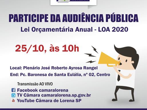 Participe da Audiência Pública da LOA 2020 que acontecerá na Câmara Municipal de Lorena