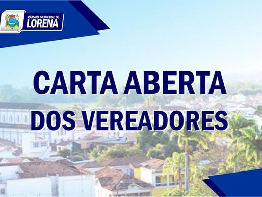 CARTA DOS VEREADORES DO MUNICÍPIO DE LORENA-SP