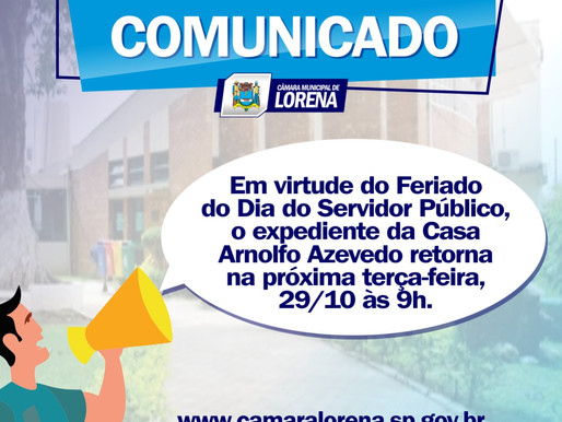 Comunicado Importante - Câmara Municipal de Lorena