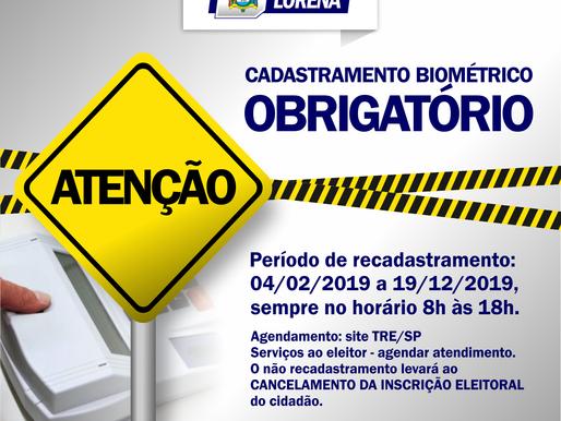 Atenção: Cadastramento Biométrico Obrigatório