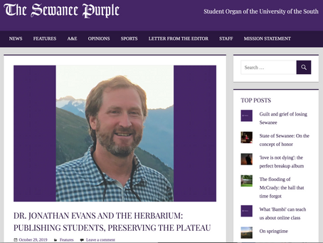 Article About Herbarium and Evans Lab Research in Sewanee Purple