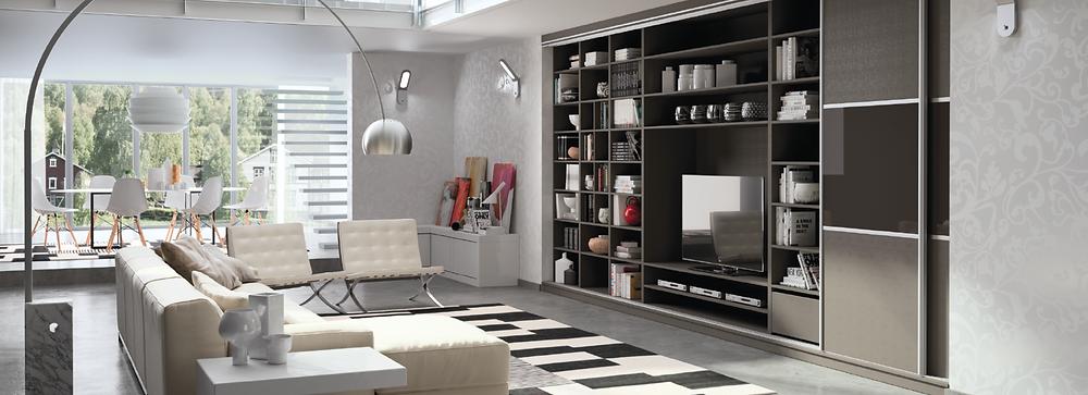 Conception et installation d'un meuble TV et bibliothèque design, moderne, pratique et ergonomique. Un aménagement et agencement intérieur réalisé à Caen dans le Calvados