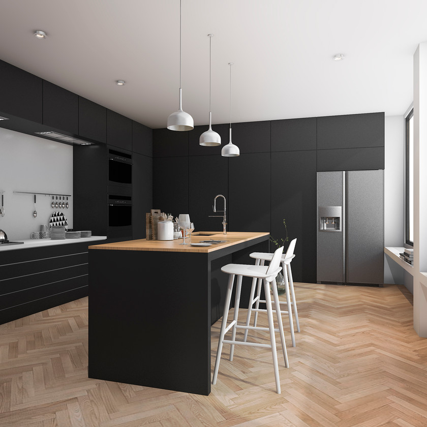 Cuisine moderne design industriel loft noir mat bois