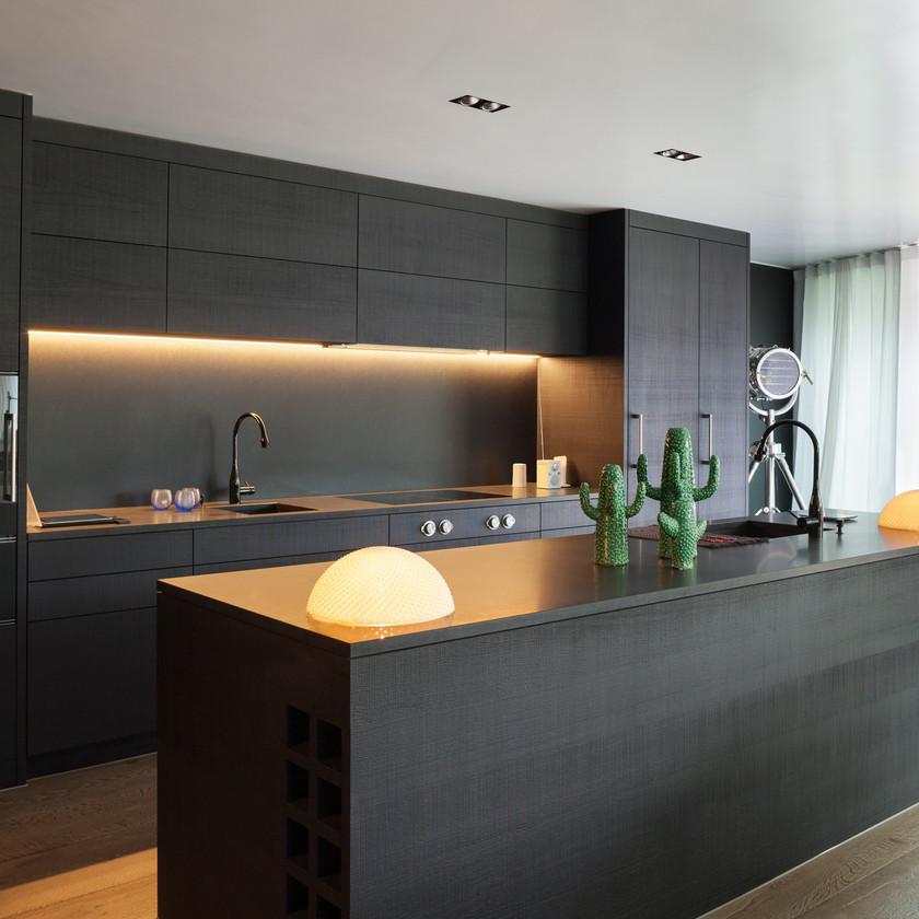 Cuisine moderne design industriel loft noir mat