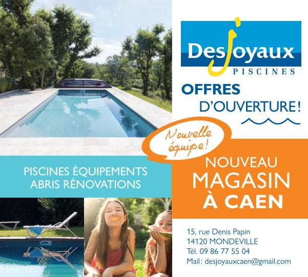 Pub print Ouest-France Pisciniste Desjoyaux, spécialiste des piscines, abris, entretien, rénovation, maintenance à Mondeville, Caen dans le Calvados en Bretagne