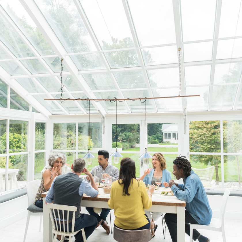 Veranda extension jardin terrasse pergola salle à manger
