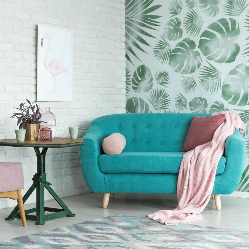 Papier peint revêtement mur déco salon briques et feuilles tropicales