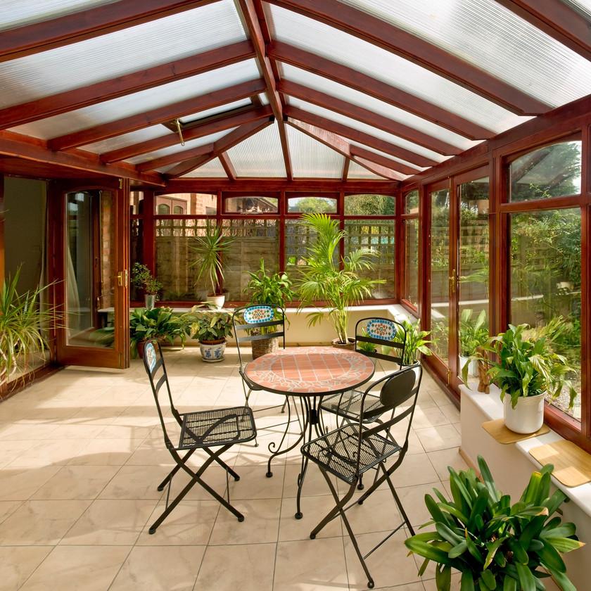 Veranda extension jardin terrasse pergola salon