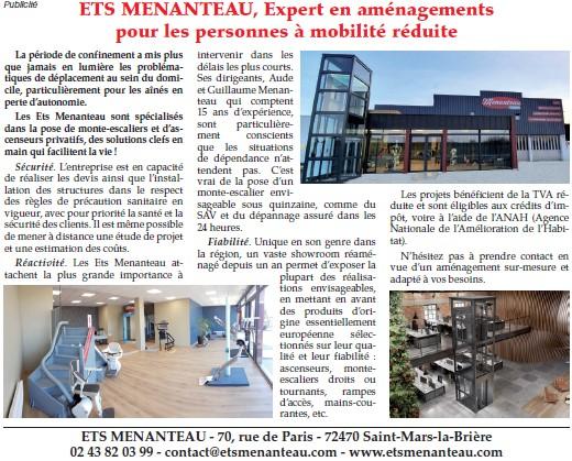 ETS Menanteau Sarthe Le Mans Saint Mars La Brière Publicité déconfinement