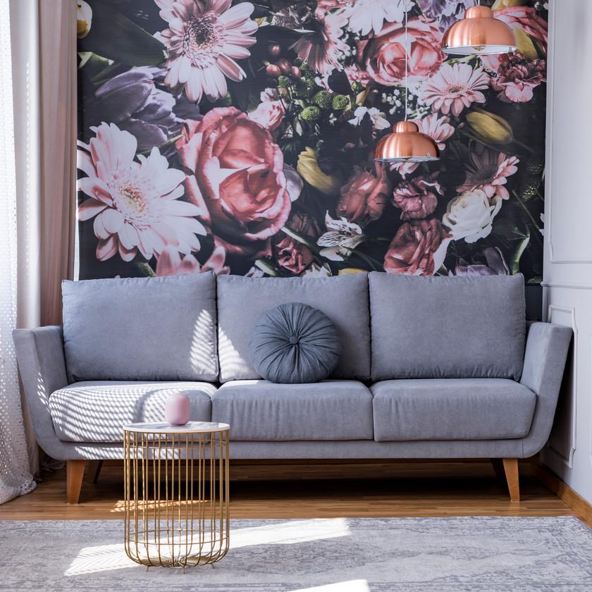 Papier peint revêtement mur déco fleurs salon