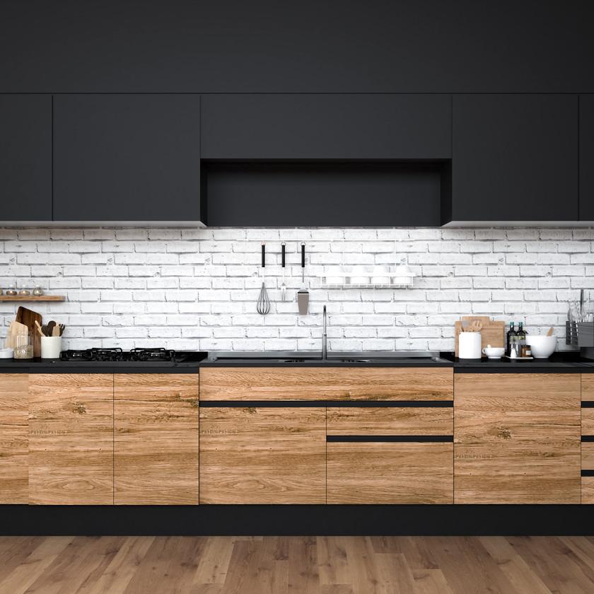 Cuisine moderne design industriel loft noir bois