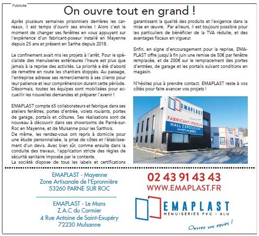EMAPLAST Menuiseries  Sarthe Le Mans Mulsanne Publicité déconfinement