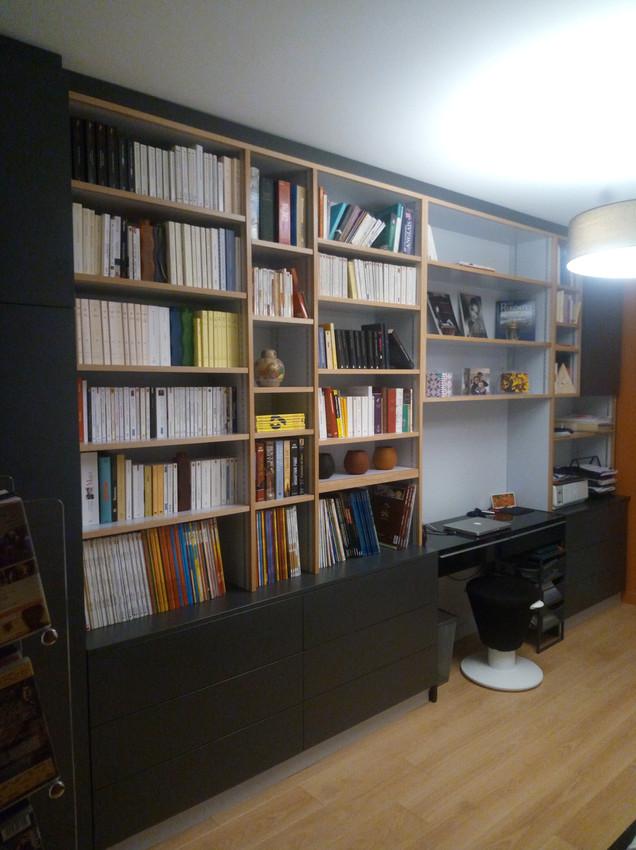 Dominique Porcher, Ebéniste agenceur basé à Vern-sur Seiche en Ille et Vilaine, Rennes. Aménagement intérieur, mobilier. Rangement bibliothèque sur-mesure en bois
