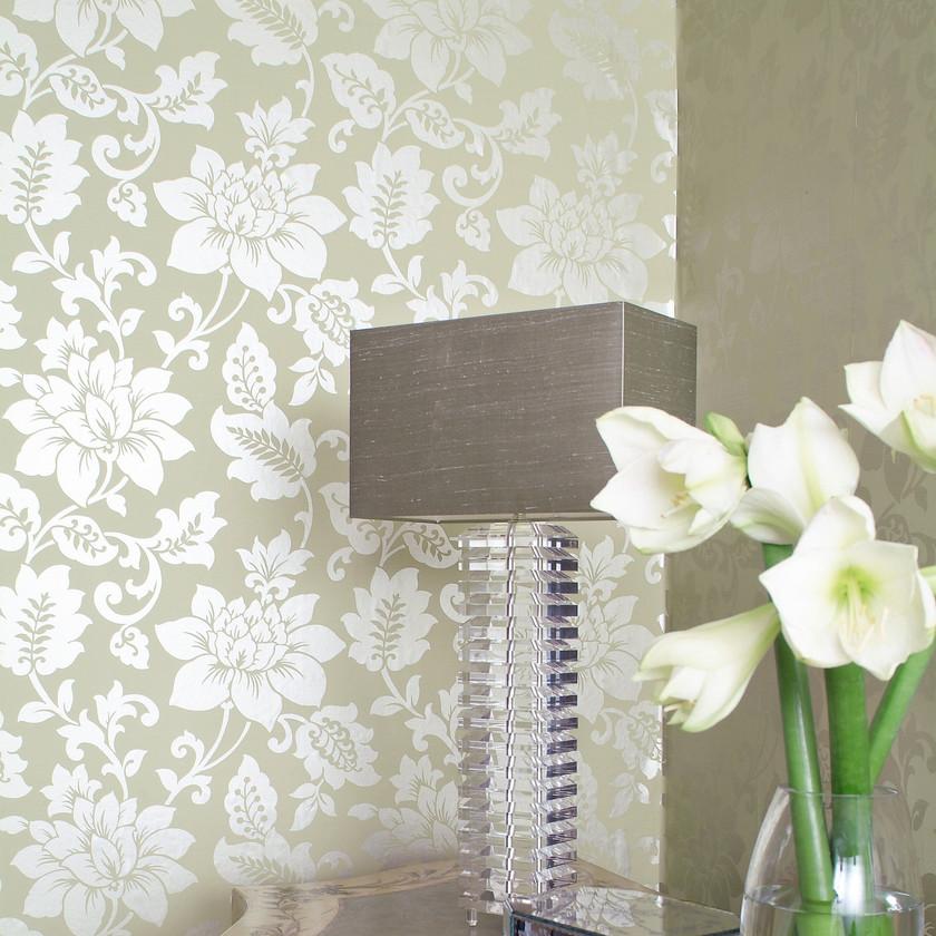 Papier peint revêtement mur déco  fleurs brillant satiné
