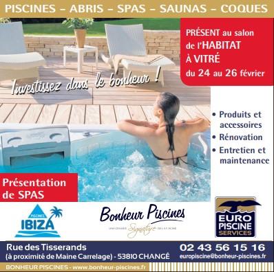 Pub print Ouest-France Pisciniste Bonheur Piscines, spécialiste des piscines, abris, saunas, spas, coques, entretien, maintenance à Changé en Mayenne en Bretagne