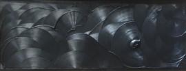 Rouages-Wheel / Pigment et enduit sur isorel /  60 x 150 cm