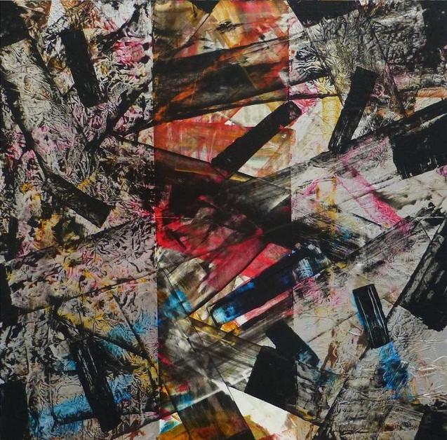 Eclats-Bursts / Acrylique, enduit et aluminium sur isorel / 80 x 80 cm
