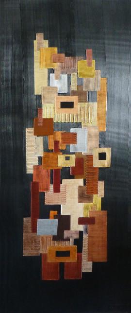 Totem / Acrylique, pigments sur isorel / 150 x 60 cm