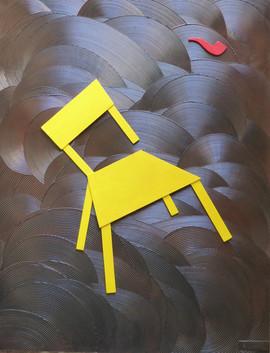 Chaise dans la tourmente-chair in turmoil / Acrylique, pigments, enduit et bois sur isorel / 108 x 83 cm