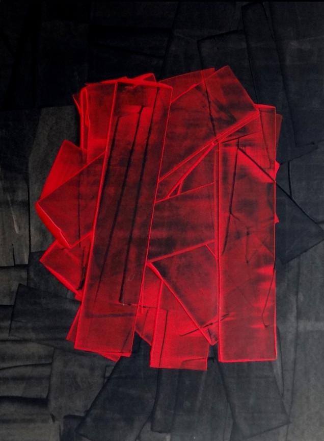 Coeur ardent-Ardent heart / Acrylique sur isorel / 80 x 60 cm
