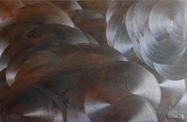 Rouages-Wheel / Pigment et enduit sur isorel /  80 x 100 cm