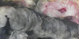 Spirales-Spirals / Acrylique et enduit sur isorel / 50 x 100 cm