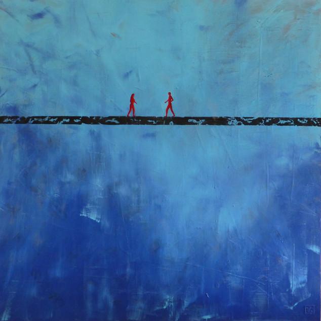 La rencontre-The encounter / Acrylique sur isorel / 100x100 cm