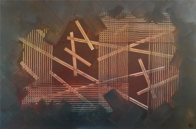 Structure / Acrylique sur isorel / 80 x 120 cm