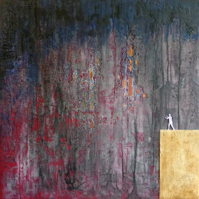Affronter-Brave / Acrylique et enduit sur toile / 80 x 80 cm