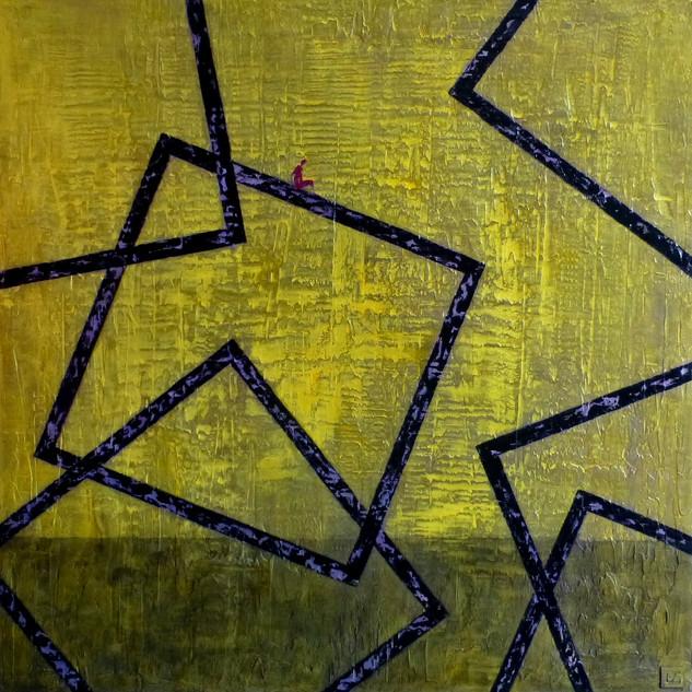 Hésiter-Doubt / Acrylique et enduit sur toile / 100 x 100 cm