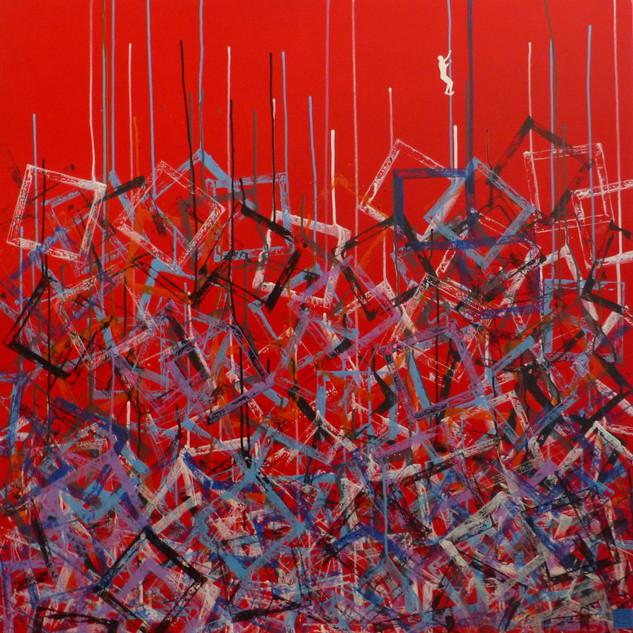 S'échapper-Escape / Acrylique sur toile / 100 x100 cm
