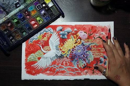Grou (Tsuru) e crisântemos (Kiku) - Artista Sandra Kuniwake