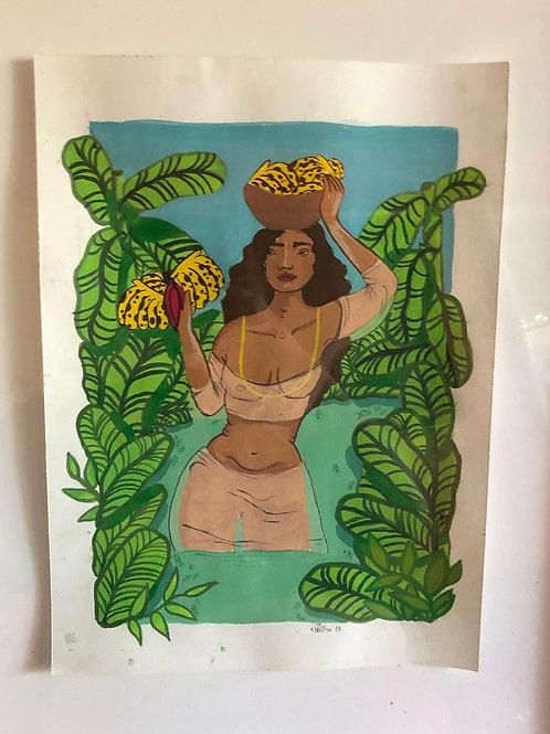 Fervedouro (mulher com banana) - Artista Laura Luz