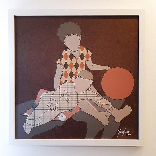 """Tela """"Cuidando do Maninho"""" - Artista Plástica Ivana Lima"""