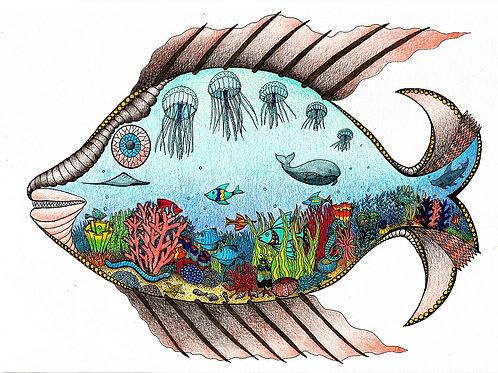 Série Peixes - Gravura - Artista Visual Ivana Cassuli