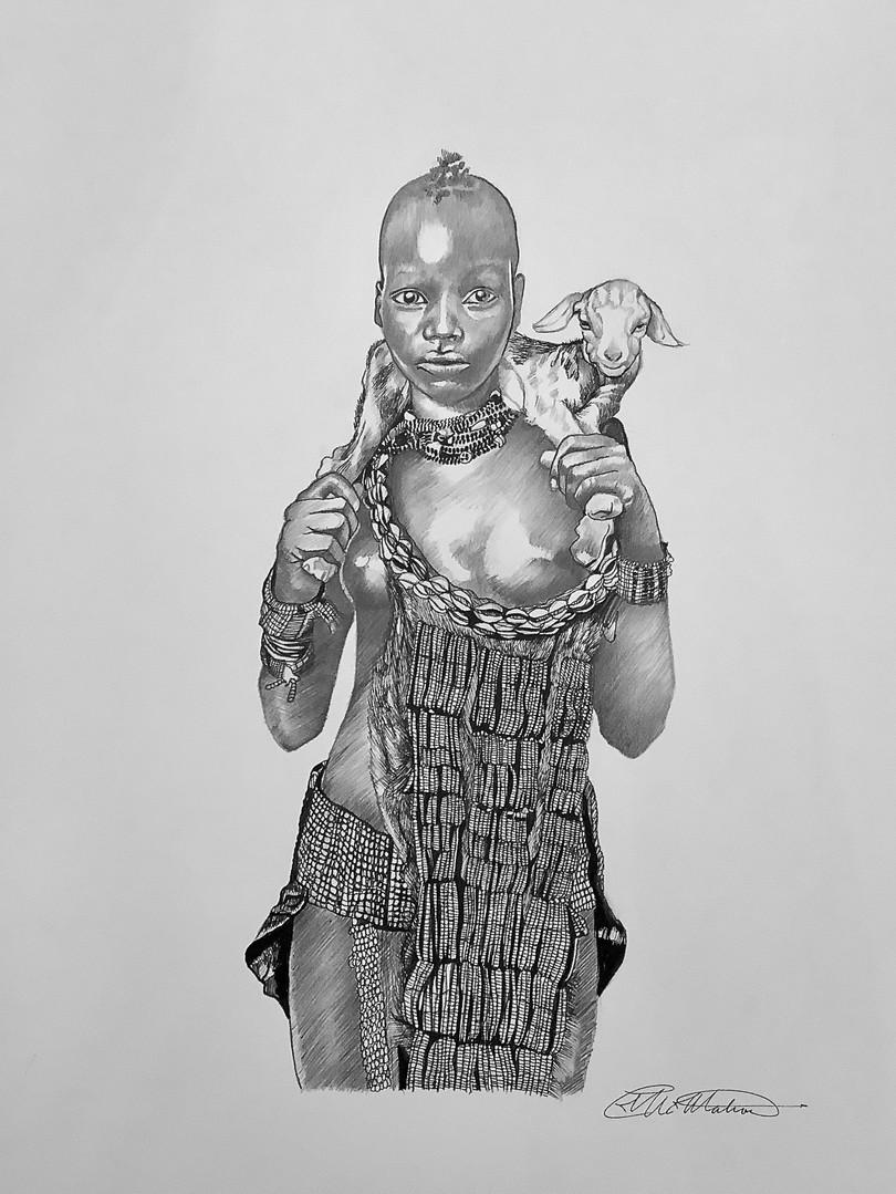 GIRL WITH GOAT, ETHIOPIA