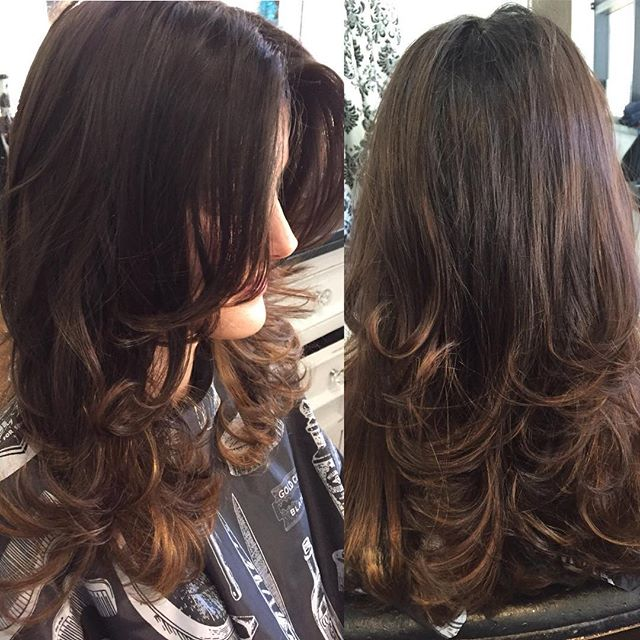 Long layered cut and Carmel highlights by Marcus #highlights #sandiegohairsalon #professionalhair #s