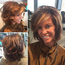Cut, color, and highlight by Marcus. Styling products used was thickening lotion by moroccanoil and