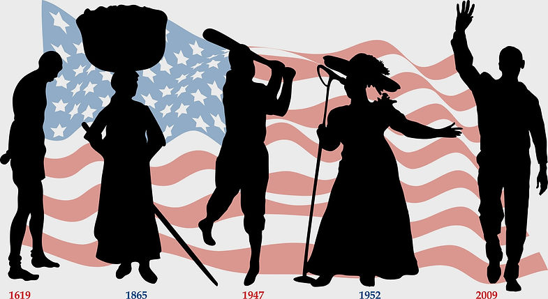 black history-workers with american flag