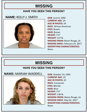 Sample mock missing person post from Heisick & Hicks (under review).