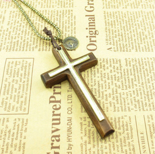 Bronze Double Cross Necklace