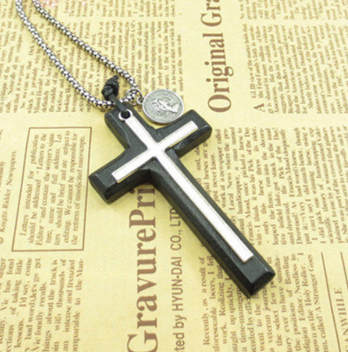 Silver Double Cross Necklace
